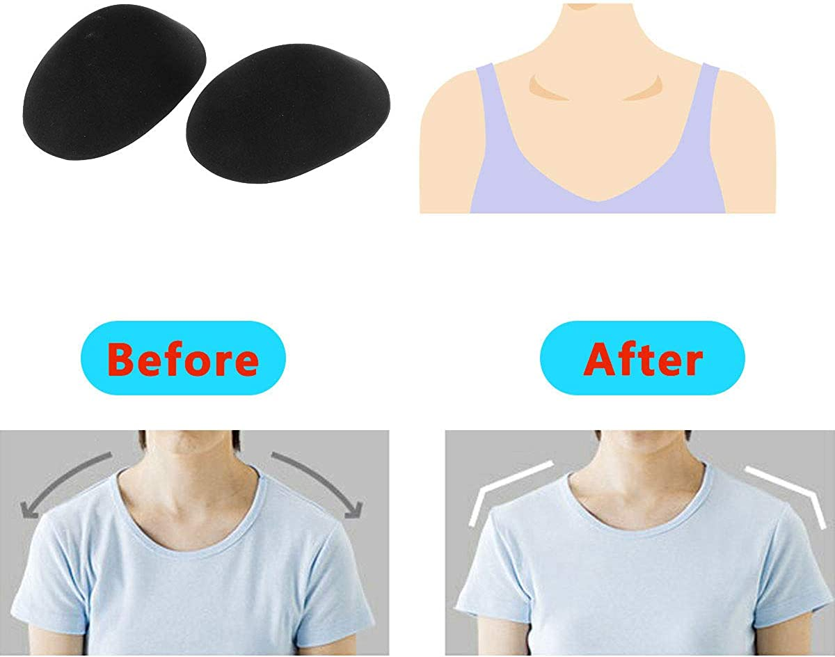 Soft Sponge Silicone Adhesive Shoulder Push-up Pads Magic Anti-Slip Shoulder Enhancer Pads One Size CJJC 2 Pairs Natural Womens Shoulder Pads