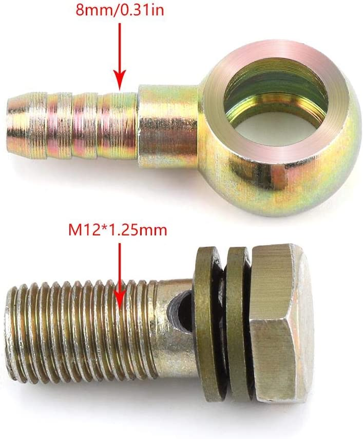 1.25mm Motorcycle Refit Oil Cooler Fittings Plug Ball Head Adapter 1 Pair of M12 M6