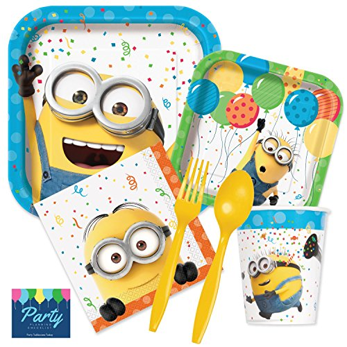 Despicable Me Minions Party Supplies Pack - Tableware for 16 Guests - Dinner Plates, Dessert Plates, Napkins, Cutlery, Cups