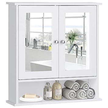 Tangkula Bathroom Cabinet, Home Kitchen Living Room Double Mirror Door Wall  Mount Storage Shelf Organizer, Wood Medicine Cabinet(White)