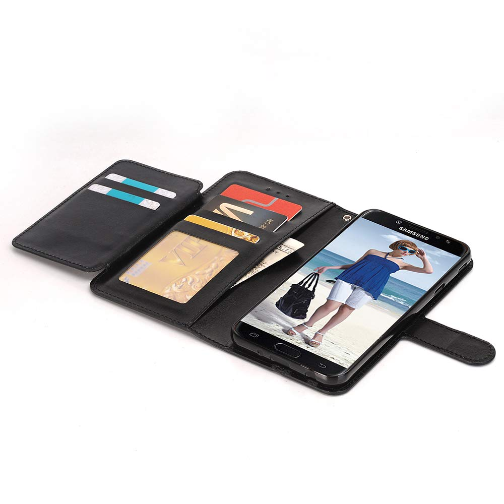 Alkax Wallet Case for Galaxy J3 2018 /J3 Achieve /J3 Star /J3 Orbit/Express Prime 3/Amp Prime 3 PU Leather Flip Cover with Card Slots Holder Stand Protective for Samsung Galaxy J3 2018 & Stylus-Black by Alkax (Image #5)