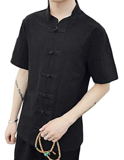 d9a62ce770 M S W Mens Chinese Style Stand Collar Linen Summer Short Sleeve Solid  Button Down Casual Shirts Black
