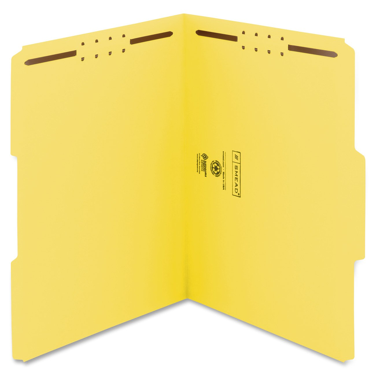 Smead Fastener, Folder Letter, Two 2-Inch K Style #1 and #3 Fasteners, 1/3 Cut Tab, Yellow, 50 Per Box (12940)