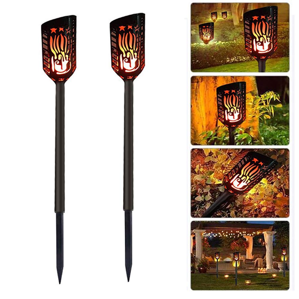Wilsea Solar Lights Waterproof Flickering Flames Torches Lights Outdoor Solar Spotlights Landscape Decoration Lighting Dusk to Dawn Auto On/Off Security Torch Light for Patio Driveway