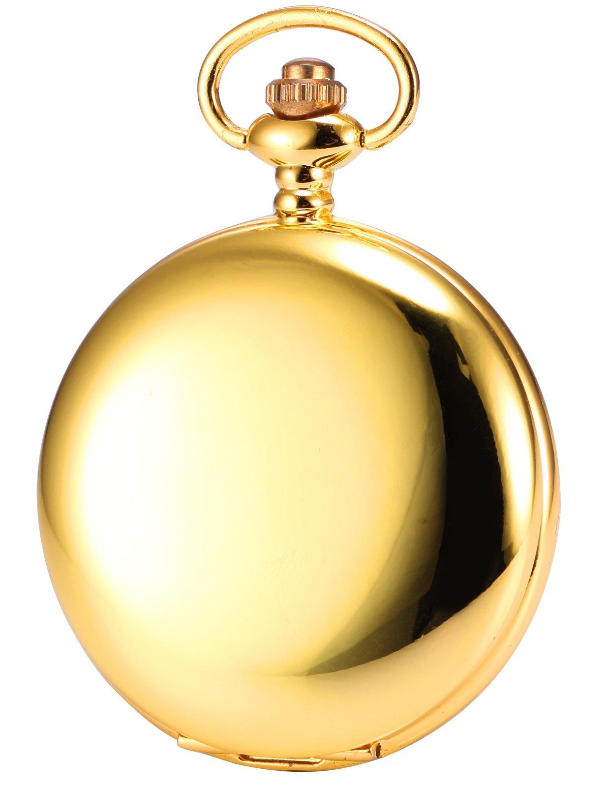 HELMASK pocket watch - Alloy Gold Round man mens Analog quartz Pocket Watch