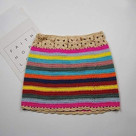 Falda,Algodón De Color Bloqueado De Punto De Ganchillo Mini Faldas ...