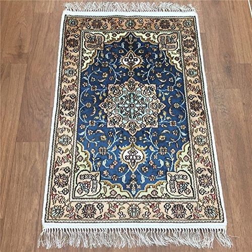 Silk Persian Rugs Qum - Handmade Qum Traditional Persian Silk Rug Vintage Hand Knotted Oriental Medallion Carpet (2-Feet-by-3-Feet, Blue) Y334C2x3