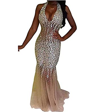 dd7e20a46914a Nina Ding 2019 Mermaid Prom Dresses for Women Beaded Luxury Formal Evening  Gowns Long Champagne NND001 at Amazon Women's Clothing store: