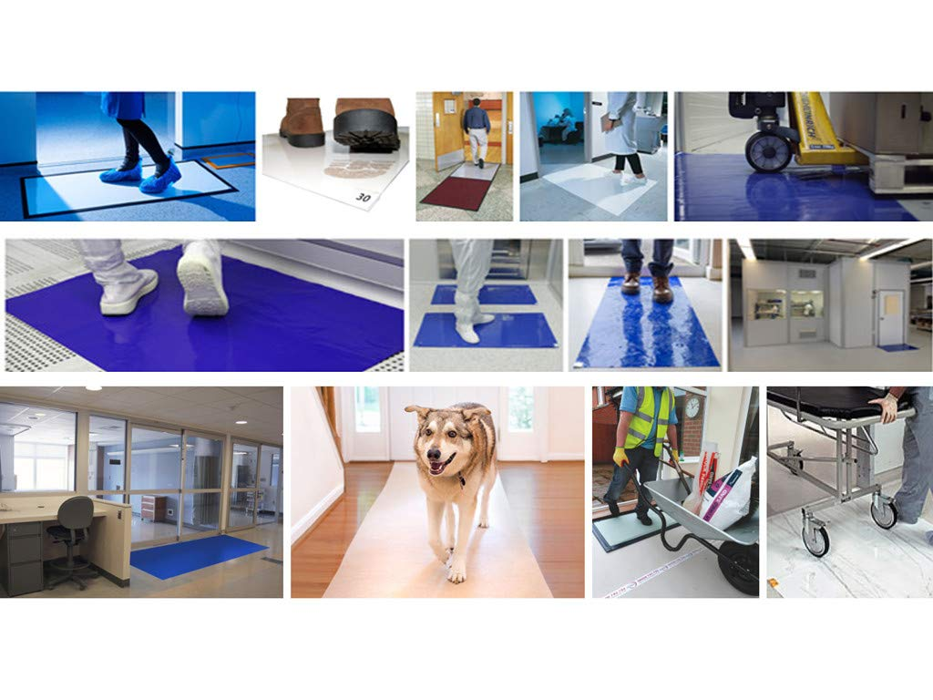 10 mats/Box, 30 Layers per Pad, 18'' x 36'', 4.5 C Blue Sticky mat, Cleanroom Tacky Mats/PVC Sticky Mats/Adhesive Pads, Used for Floor (for Home/Laboratories/Medical Offices use) by Cleanmo (Image #6)