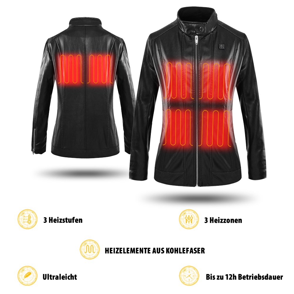 CLIMIX Slim Fit Women Heated Jacket PU Leather Jacket Kits with Battery (M) by CLIMIX (Image #5)