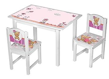 Kinder Stühle Tisch Kindersitzgruppe Kinderstühle Massiv Holz Teddy Rosa Pink Größe 2 Stühle 1 Tisch