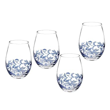 Portmeirion Spode Stemless Glasses Blue Italian Glasses, Set of 4 (1624917)