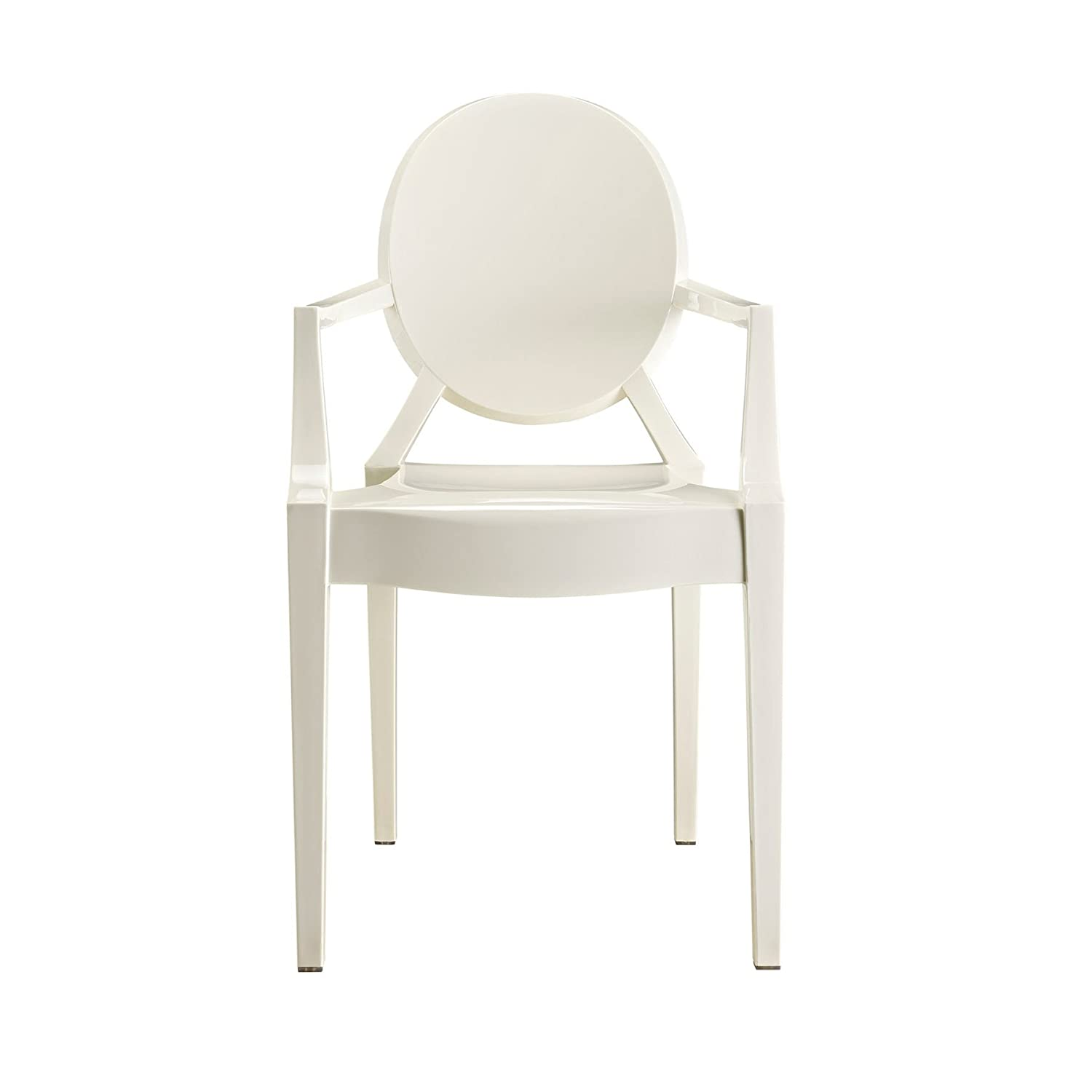 Design Tree Home Modern Ghost Arm Chair, White