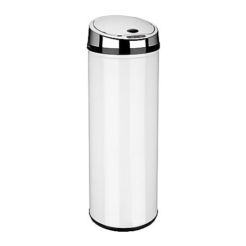 Dihl Round Sensor Bin, Stainless Steel, White, 50 Litre