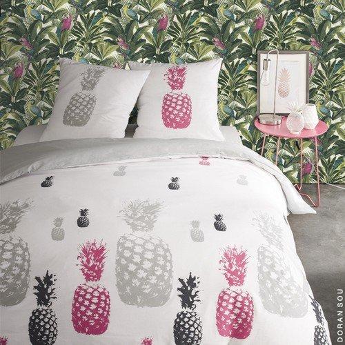 pineapple parure de lit pour 2 personnes housse de couette 260x240 cm taies doreiller 63x63 cm amazonfr cuisine maison - Parure Housse De Couette 2 Personnes