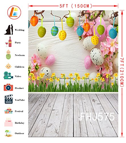 LB Spring Easter Backdrop for Photography 5x7ft Vinyl Yellow Flowers Eggs Wood Floor Background for Children Kids Adult Portraits Photo Backdrop Studio Props by LB (Image #2)