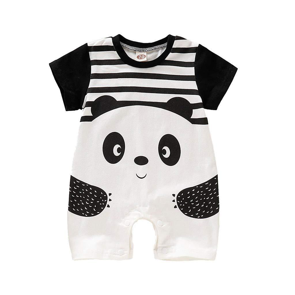 Baby Jungen M/ädchen Kurzarm Cartoon Panda Strampler Overall Babyspielanzug Outfits Kleidung Romper 3-24 Monate wuayi  Baby Body
