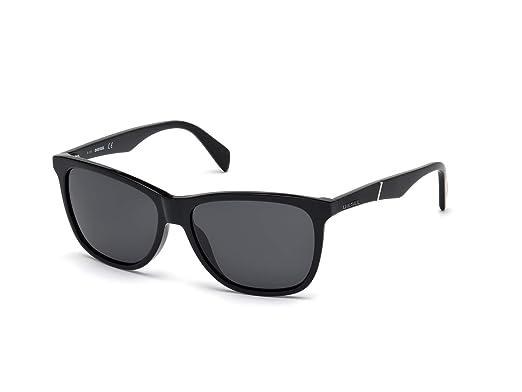 f2e6dc20a50b Amazon.com  Diesel Dl0222 Wayfarer Sunglasses Black 57 mm  Clothing