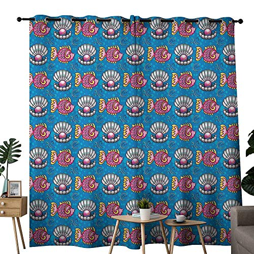 out Curtains for Bedroom Pearls,Bubbles Backdrop with Scallops and Swimming Fishes Horizontal Design Tropic Cartoon,Multicolor,Darkening Grommet Window Curtain-Set of 2 120