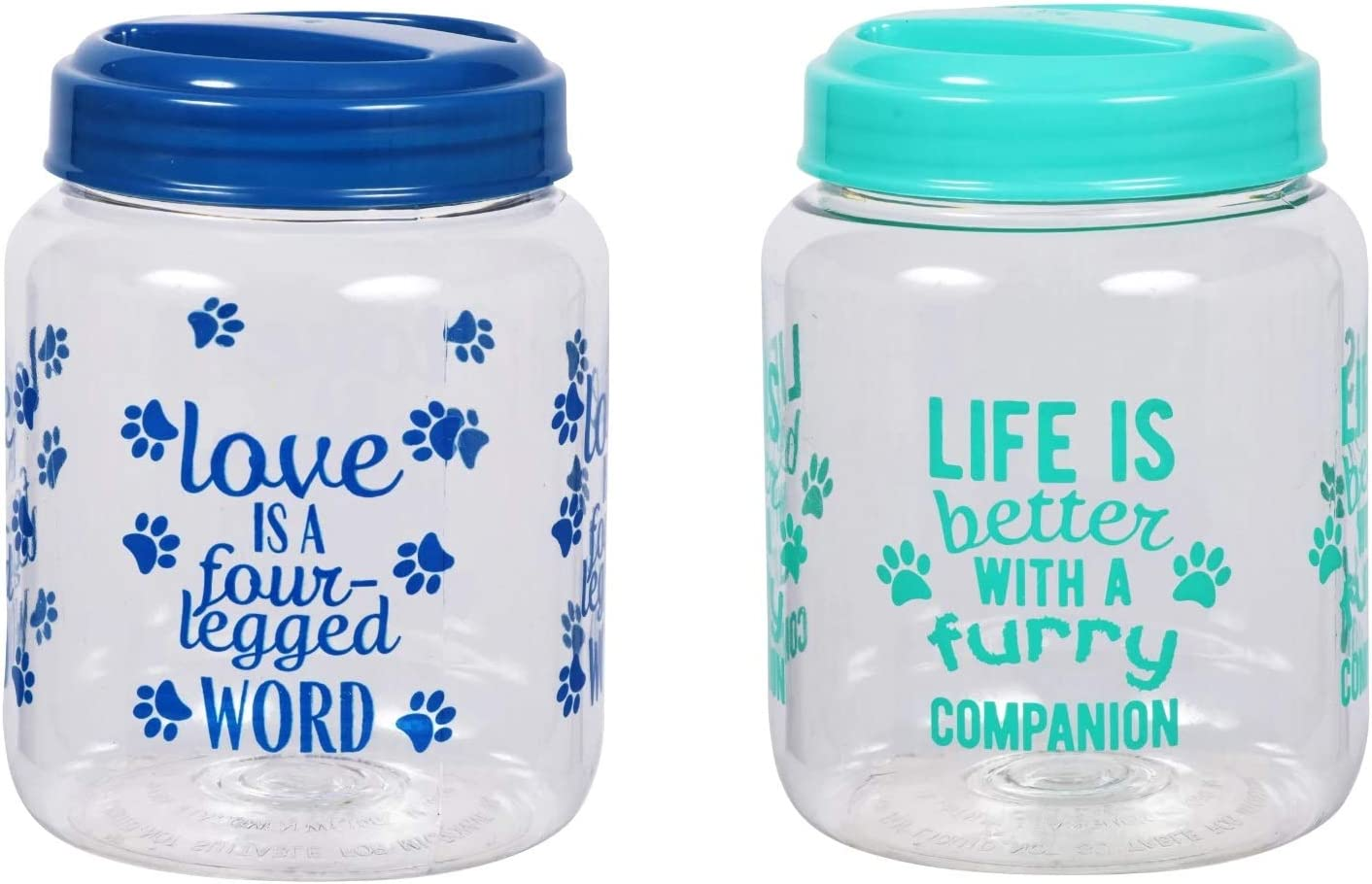 BPA-Free Plastic Airtight Dog Treat & Food Storage Containers Canisters Green & Blue Paw Print with Slogan (Set of 2) NW