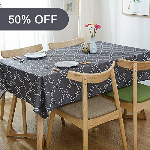 - Lamberia Rectangle Vinyl Fabric Tablecloth Heavyweight Spill-Proof and Stain Resistant, 60