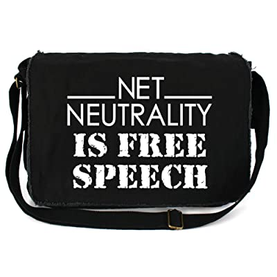 Tenacitee Net Neutrality is Free Speech Raw Edge Canvas Messenger Bag