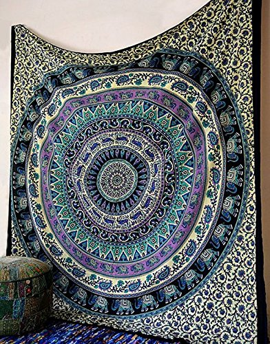Marubhumi Hippy Mandala Bohemian Tapestries, Indian Dorm Decor, Psychedelic Tapestry Wall Hanging Ethnic Decorative Tapestry (84 x 90 Inches, Multi Dream)
