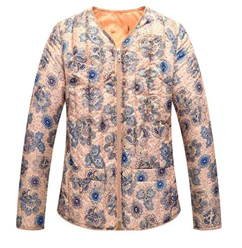 Da size Stampato Cappotto Outwear Il Classiche Plus Addensare Giù Tootlessly Donna Blu BqUwEaY