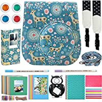 Katia 8 In 1 Instax Mini 9/ 8+ /8 Camera Accessories Bundle For Fujifilm Instant Film Camera (Protective Case/ Photo Album/ Filters/ Selfie Len/ Hanging Frames/ Stickers) and More - Blue Deer