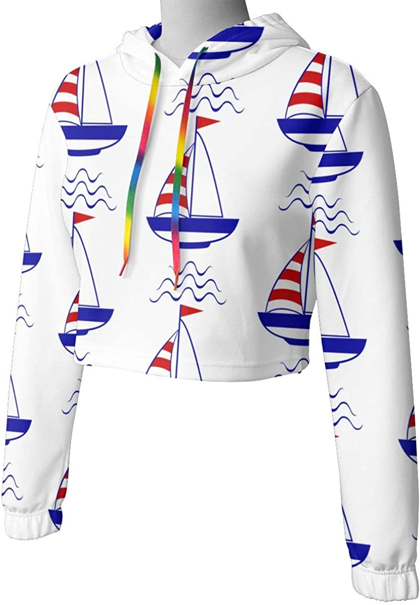 Cute Long Sleeve Tops Blouse Womens Boat and Wave Crop Top Pullover Sweatshirt