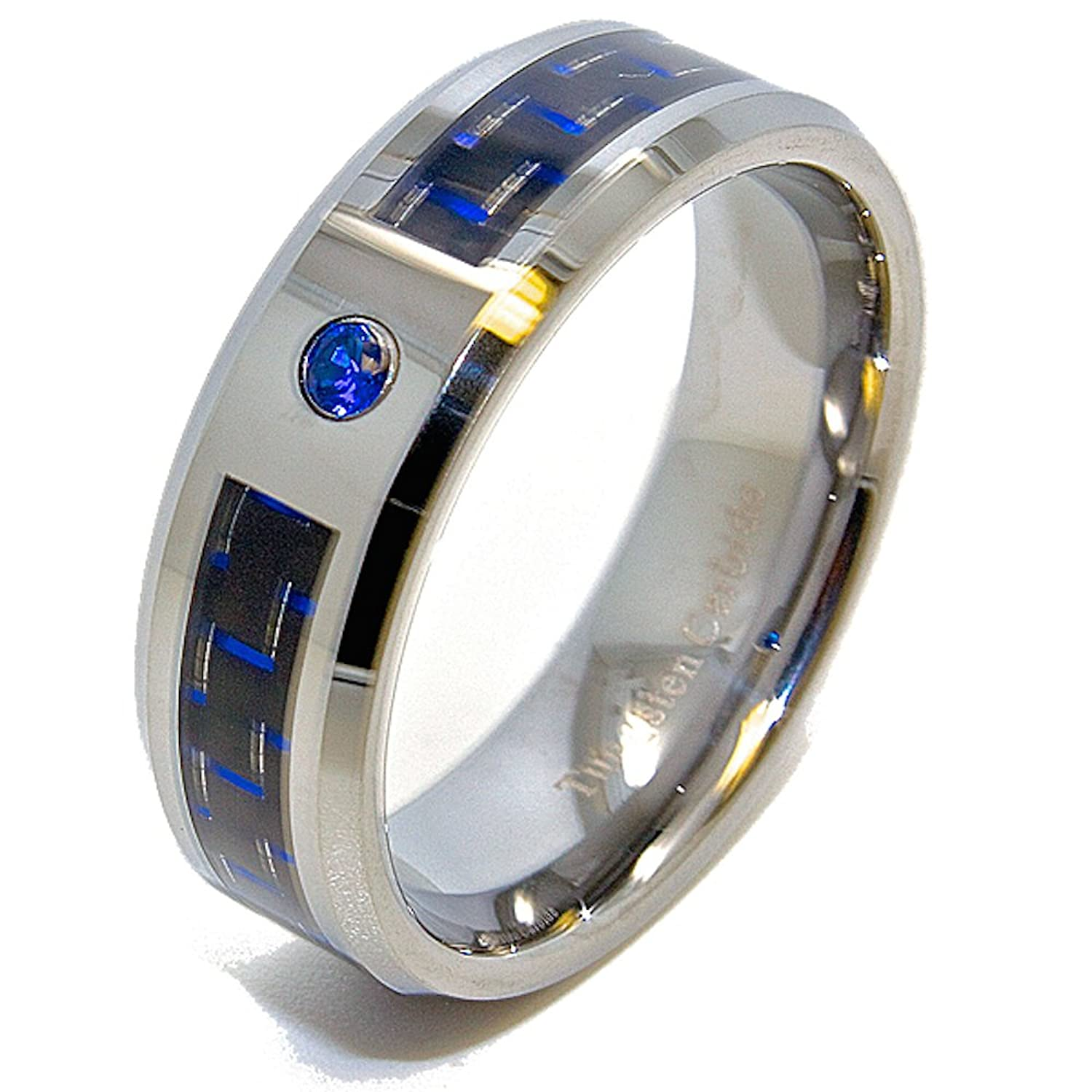sapphire jewelry band dp stone anniversary amazon diamond collection round white blue com rings dazzlingrock gold stackable wedding