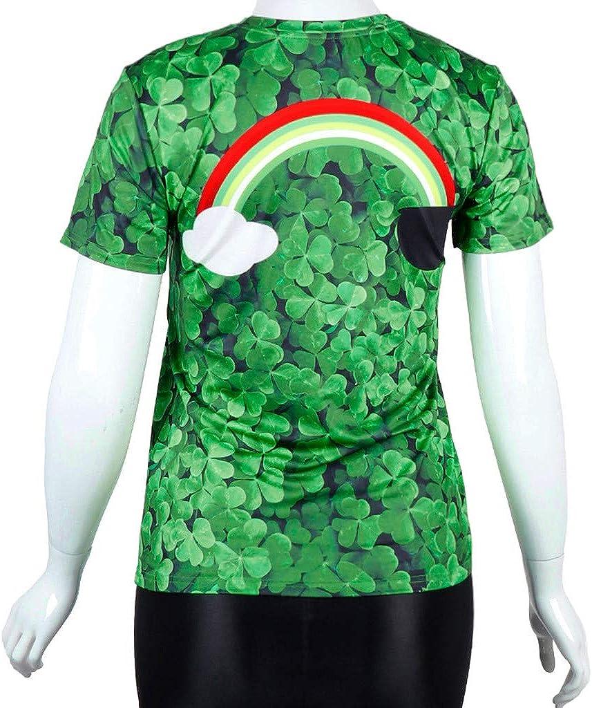 Green Blouses for St.Patricks Day Unisex Tee Shirt Cat Print Dog Printing Short Sleeve