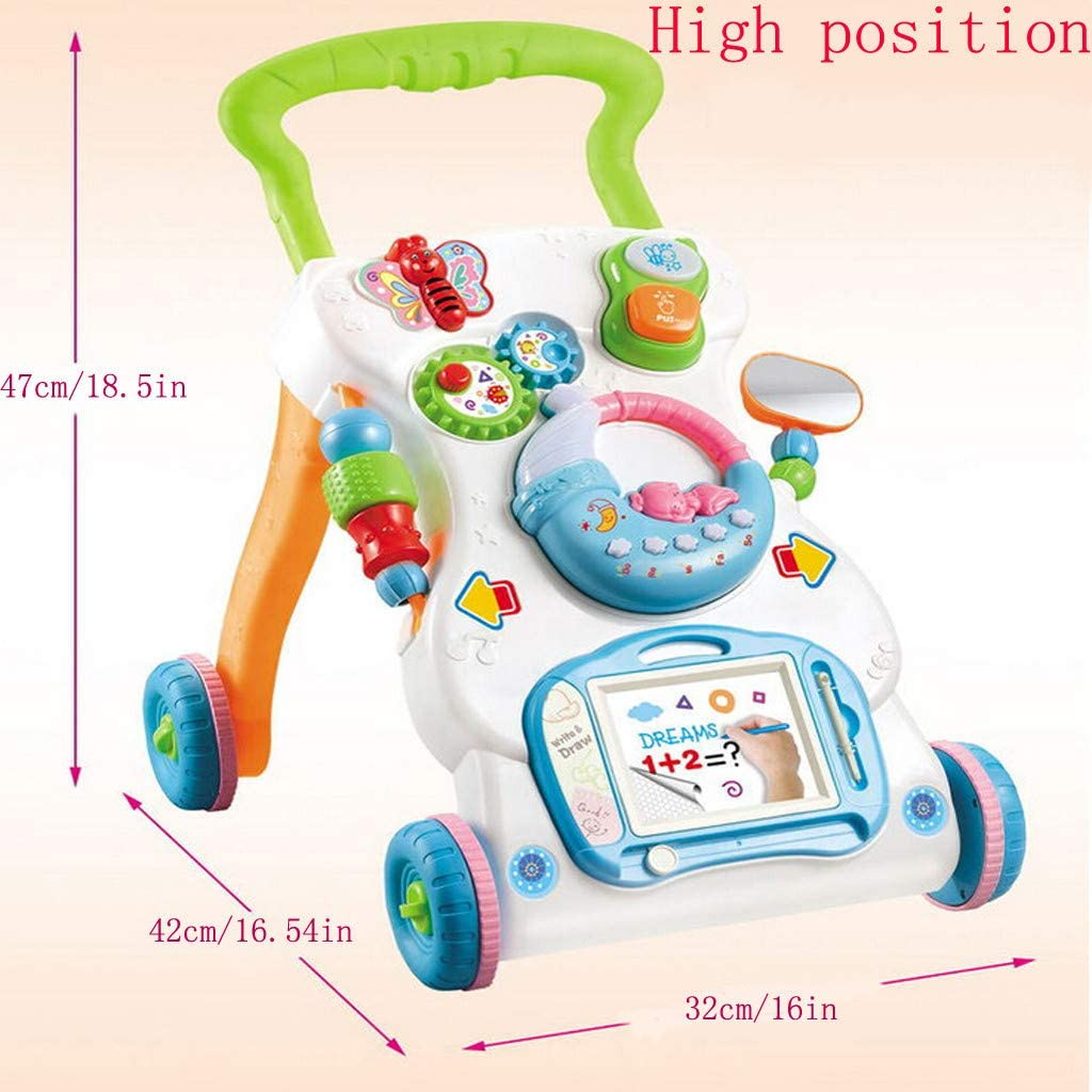 6 Months to 3 Years Old, Multicolor Sit-to-stand Baby Walker Drawing Board Early Development Toys for Toddler Mosunx Multi-Function Stroller Push and Pull Activity Center Entertainment Table