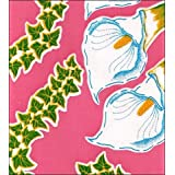 """Round Oilcloth Tablecloths in Calla Lily Collection - Pink - 47"""""""