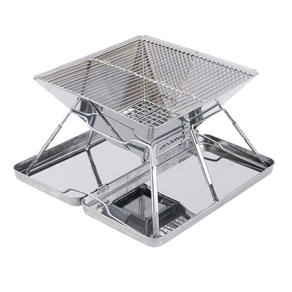 Bjzxz Large Charcoal Grill Outdoor Stainless Steel Folding Grill firewood Stove Portable Camping Stove