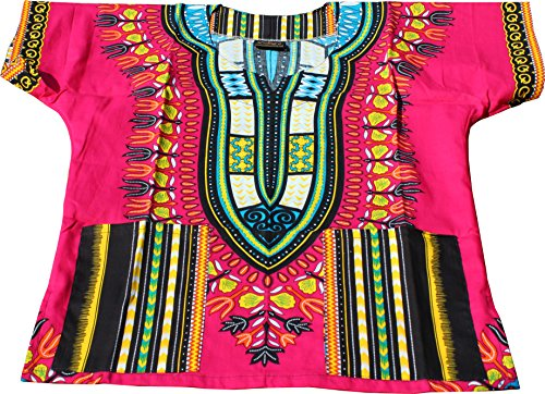 Raan Pah Muang Unisex Childrens African Dashiki Throw Over Bold Print Boubou Shirt, 8-10 Years, Deep Pink