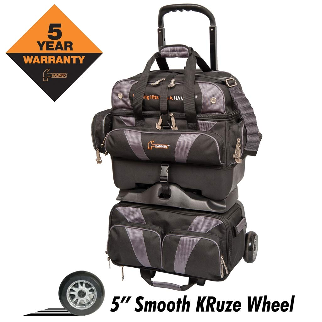 Hammer Premium 4-Ball Stackable Bowling Bag, Black/Carbon