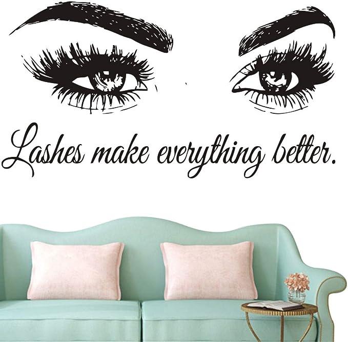 Hello Gorgeous Eyelashes Lashes Salon Wall Sticker WS-51496