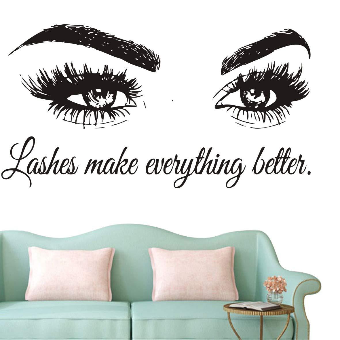 Wall Decal Beauty Salon Quote Sticker Lashes Make everything Better Beautiful Eyes Eyelashes Lashes Extensions Brows Wall Sticker Make Up Wall Window Mural AY1075 (BLACK, 57X103CM) by YOYOYU ART HOME DECOR (Image #1)