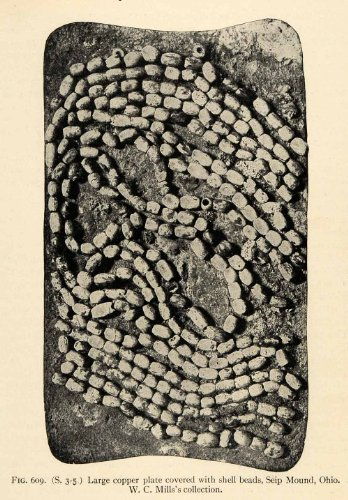 1910 Print Copper Plate Shell Beads Seip Mound Ohio Native American Indian Art - Original Halftone (Art Shell)