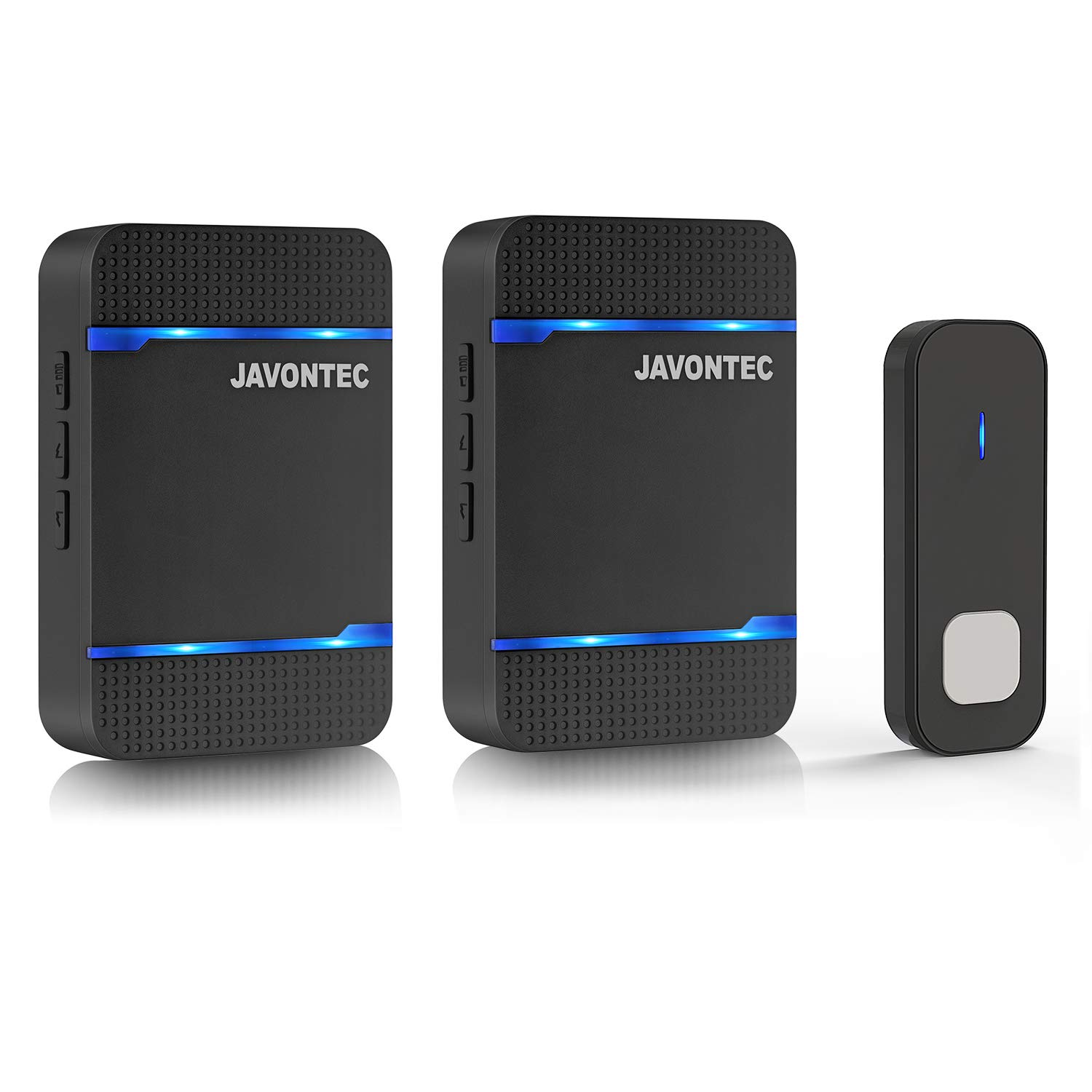 JAVONTEC Wireless Doorbell with LED Indicator,Waterproof IP55,1000ft Long Range with 55 Ringtones and 5 Volume Levels,2 Plug-in Receivers&1 Remote Button(Black)