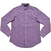 Polo Ralph Lauren Men's Plaid Poplin Sport Shirt (Pink Navy Tattersall)