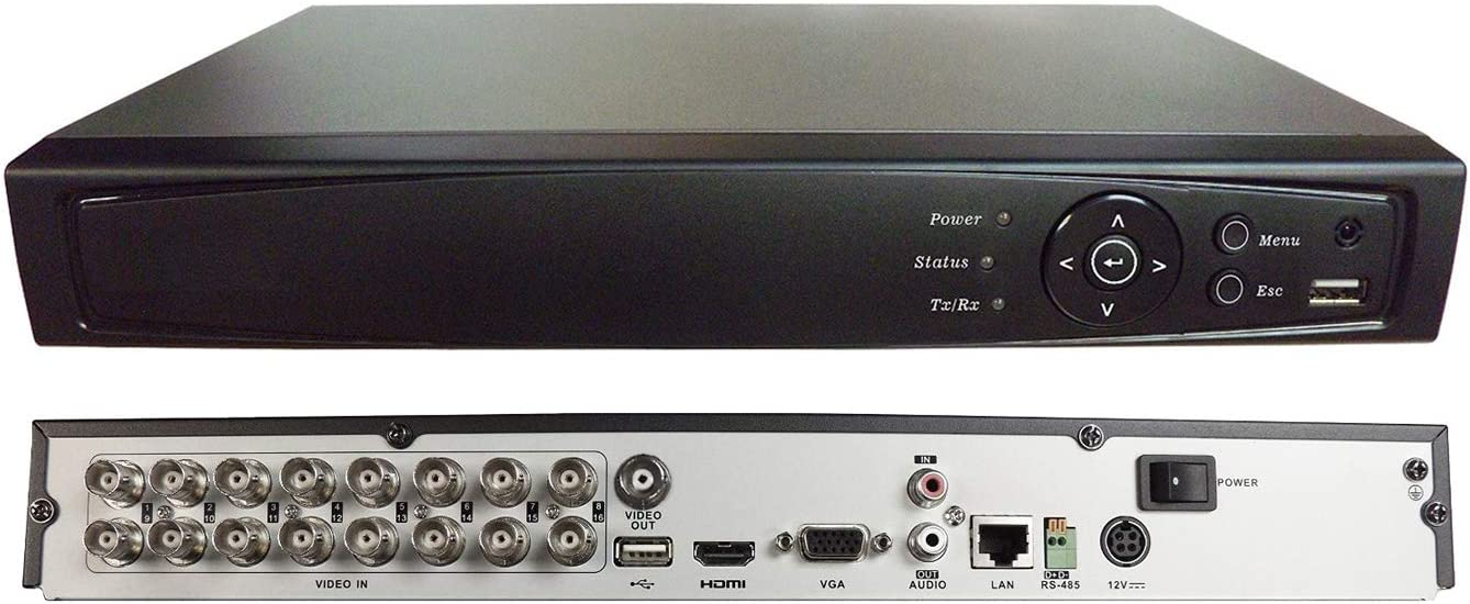 1stPV 16CH HD-TVI/Analog/IP 3 in 1 True-HD 1080p H.264 DVR w/ 2TB HDD Internet Mobile Phone HDMI Real Time Smart Recording Playback Great for Home Office CCTV System (Work w/HD-TVI, Analog & IP Cam)