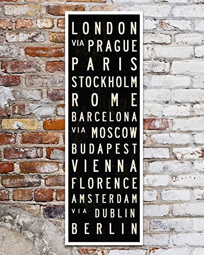 Subway Art, European Wall Art, Europe Subway Sign. Canvas Room Décor, Travel Poster. 12 x 36