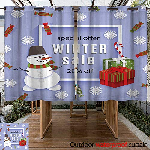 (Outdoor Balcony Privacy Curtain Vector Winter Sale Poster Template W108 x)