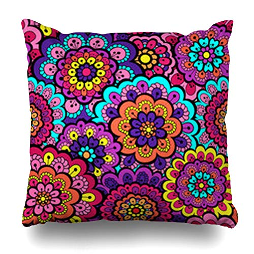 (Alfredon Throw Pillow Covers Ethnic Red April Floral Endless Cute Fancy for Abstract Doodle Teal Circle Color Pillowcase Square Size 18 x 18 Inches Home Decor Cushion)