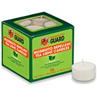 Mosquito Guard Repellent Tea Light Candles (16 Pack) Made with Natural Plant Based Ingredients - Citronella, Lemongrass…