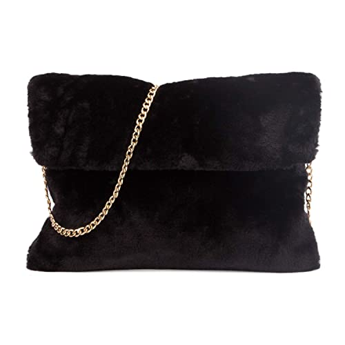 ebcde66b9631 MICOM Classical Soft Envelope Faux Fur Bag Clutch Bag Crossbody Purse with  Chain Strap (Black