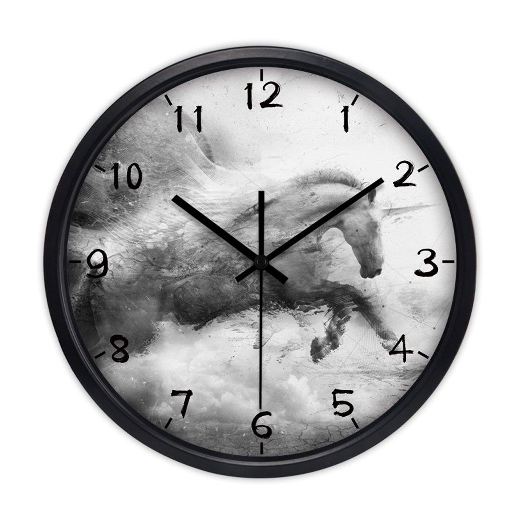 掛け時計 ウォールクロックモダンクリエイティブ中国の大きな居間の壁時計シンプルな静かな学校のクォーツ時計吊りテーブル Rollsnownow (色 : ブラック, サイズ さいず : 12インチ) B07BKZJ279 12インチ|ブラック ブラック 12インチ