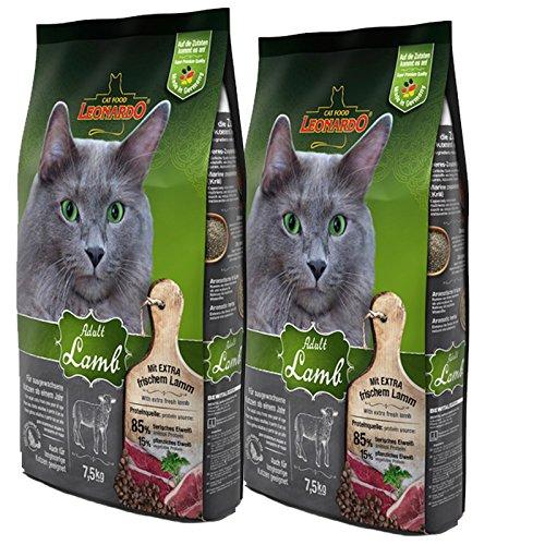 2 x 15 kg Leonardo Adult Lamb Katzenfutter für ausgewachsene sensible Katzen